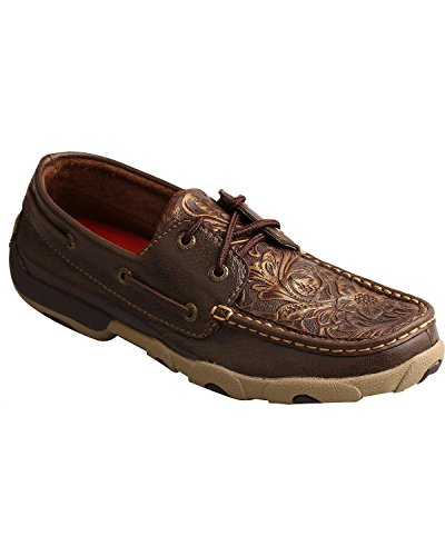 Twisted X Women's Embossed Floral Driving Mocs Moc Toe Brown 7 - Women X