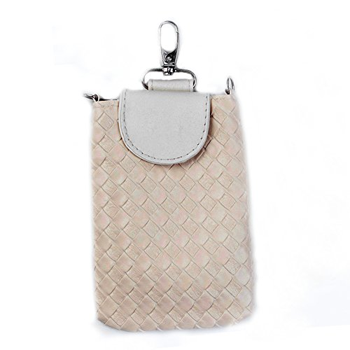 Woven Leather Crossbody Pouch Hand Bag for Smartphone