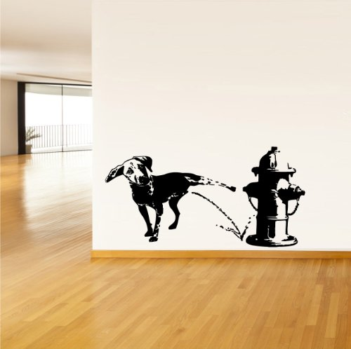 Vinyl Hydrant - Wall Vinyl Sticker Decals Mural Design Funny Dog Peeing on Fire Hydrant 768
