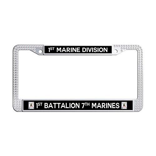 1st Battalion 7th Marines 1st Marine Division License Plate Frame,White Rhinestones License Plate Frame Holder]()