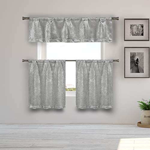 Kelvin – Home Decorator Blackout Room Darkening Kitchen Tier Valance Set Small Window Curtain for Cafe, Bath, Laundry, Bedroom – Silver
