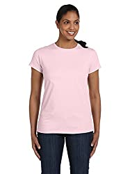Hanes Women's Relax Fit Jersey Tee 5.2 oz (Pack of 1) Size:Large Color:Pale Pink