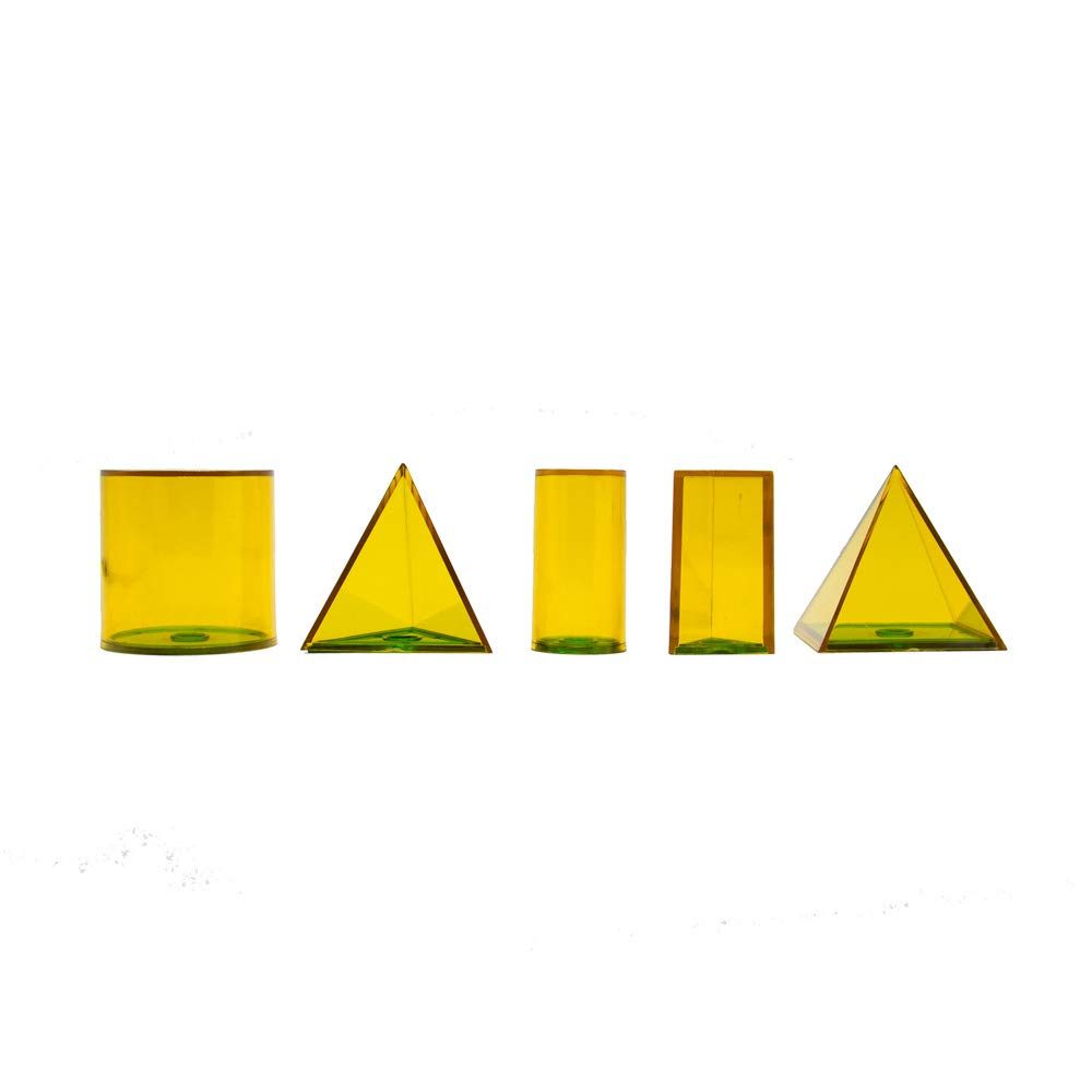 Yellow Geometric Solids for Measuring 9310 hand2mind Plastic Fillable 3D Shapes