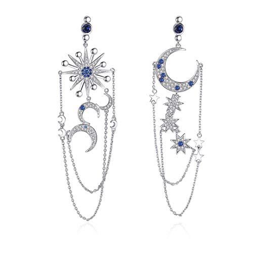 (Detuonvsa Luxury Drop Earrings Silver Color Twinkle Star Moon Clear Zircon CZ Chain Jewelry for Women White Gold)