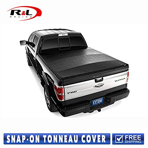 R&L Racing Black Tonneau Cover Heavy Duty Snap-On 2001-2003 for Ford F150 Supercrew Super Crew Cab 5.5 Ft Short Bed