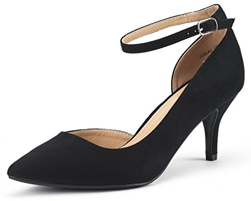 DREAM PAIRS IDEAL Women's Evening Dress Low Heel Ankle Strap D'orsay Pointed Toe Wedding Pumps Shoes Black Suede Size 8.5 (Suede Dress Shoes For Women)