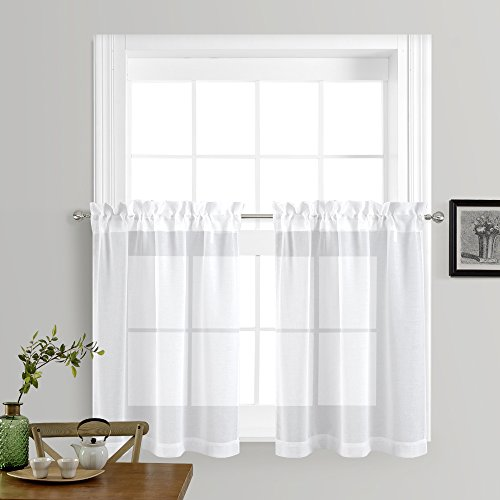 Sheer Kitchen Curtain (Sheer Curtains for Kitchen Window - Home Fashion Faux Linen Rod Pocket Voile Drapes for Small Windows by NICETOWN (White, Set of 2 Panels, 55