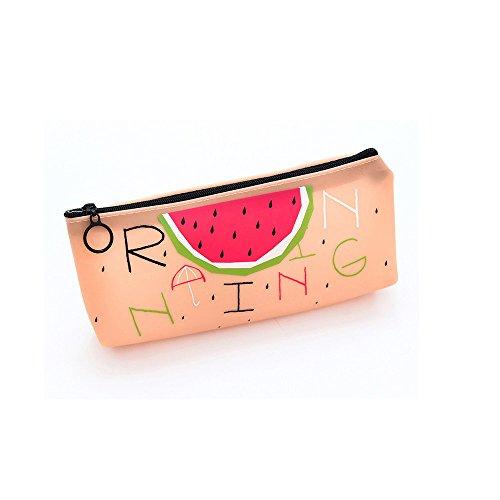 Ki-8Jcud Summer Style Fruit Canvas Pencil Pen Case Box Travel Pouch Bag Purse for Students (B, 1pc)