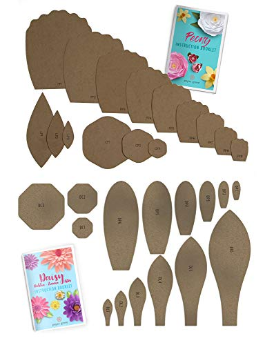 Paper Peony and Daisy + Dahlia + Zinnia + Aster Paper Flower Template Kit DIY, 9 Styles Flower 1