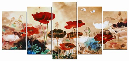 Paintings Flower Contemporary - Wieco Art Blooming Poppies 5 Piece Canvas Prints Wall Art Colorful Floral Pictures Paintings Bedroom Home Decorations Modern Stretched Framed Giclee Contemporary Pretty Red Flowers Artwork