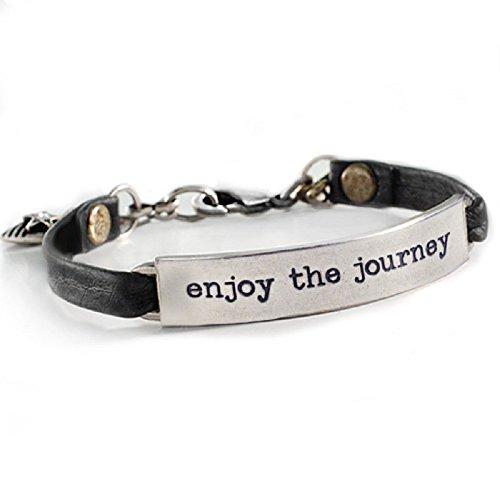 Enjoy the Journey Inspirational Message Bar Leather Bracelet (Inspirational Leather Bracelets)