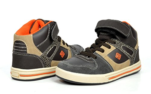 Dream Pairs GLY4108 Boy's Athletic Velcro Strap Light Weight Running High Top Sneakers Shoes Brown-Orange Size 4