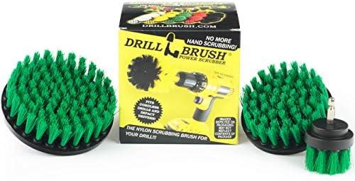 Drillbrush 汎用クリーニングとスクラブのためにブランドのクイックチェンジ軸動力ロータリークリーニングナイロン毛クリーニングブラシキットドリルビットアタッチメントブラシ ミディアム・グリーン