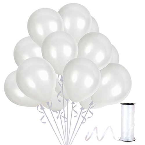 4th of July Party Kit Pearl White Metallic Latex Balloons 100 Pack Premium Quality Bouquet for Arch Column Stand School Wedding Baby Shower Birthday Independence Day Party Decorations]()