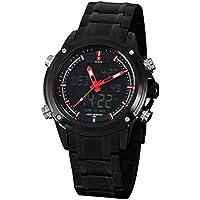 Zeiger New Men Analog Digital Sport Watch Black Stainless Steel Military Aviator Pilot LED Display Watch for Men (Black)