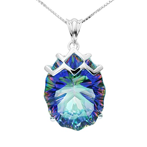 Jewelrypalace Mystic Blue Rainbow Topaz Concave 925 Sterling Silver Pendant Necklace