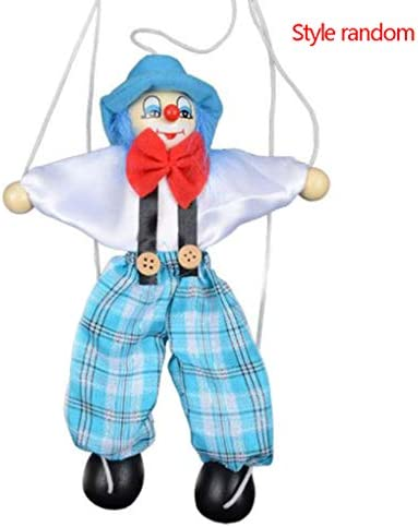 Firiodr Colorful Pull String Puppet Clown Wooden Marionette Handcraft Toys Joint Activity Doll Kids Children Gifts Random Color