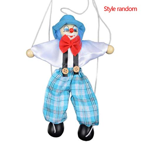 (Fornateu Colorful Pull String Puppet Clown Wooden Marionette Handcraft Toys Joint Activity Doll Kids Children Gifts Random Color)