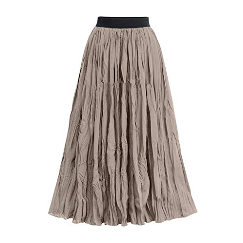 - Tutu Mesh Skirt Women Long Elastic Waist Pleated Maxi Skirts Beach Boho Vintage