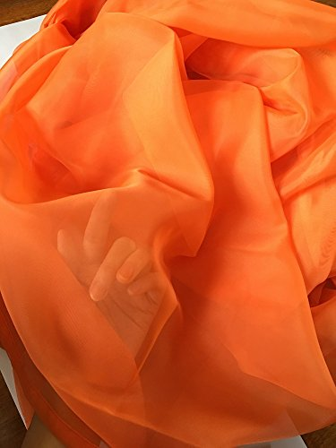 Warm Home Designs Pair of Long Length Bright Orange Sheer Window Curtains. Each Voile Drape Is 56 X 96 Inches in Size. Great for Kitchen, Living or Kids Room. 2 Fabric Panels. Color: Orange 96