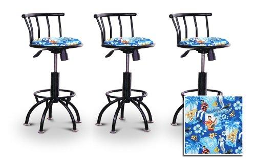 3 24''-29'' Elvis Presley Blue Hawaii Fabric Seat Black Adjustable Specialty / Custom Barstools Set by The Furniture Cove