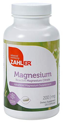 Zahler Magnesium Citrate, All Natural Supplement with Maximum Absorption, Helps Maintain Normal Muscle and Nerve Function, Certified Kosher, 200mg, 120 Capsules
