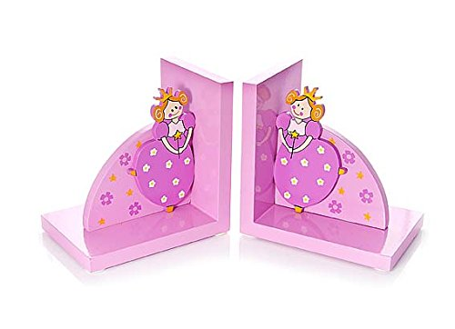 Pink Princess Childrens Wooden Bookends for Girls Bedroom or Nursery by Mousehouse Gifts (Image #3)