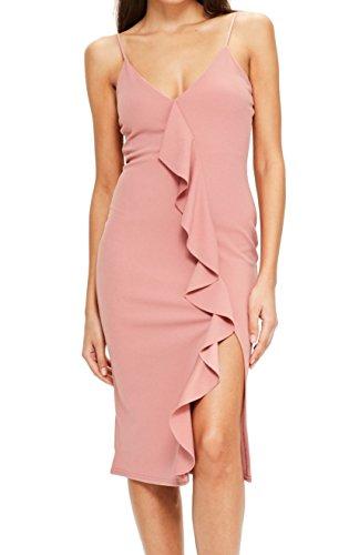 Missguided Rose Womens Sheath Ruffle Slit Crepe Dress Pink 4