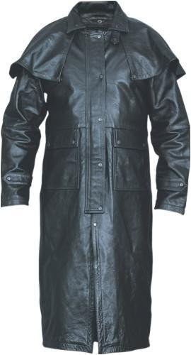 (Leather Duster Coat with Zip-out liner, Leg-straps, and Removable Cape)