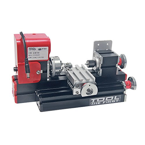 Signswise 24W 20000rpm Motorized Mini Metal Working Lathe Machine DIY Tool Metal Woodworking for Hobby Sience Education Modelmaking