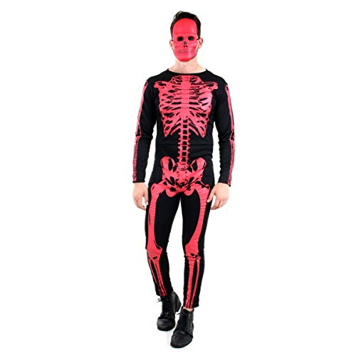 Esqueleto Adulto Sulamericana Fantasias Preto/Vermelho P 38/40
