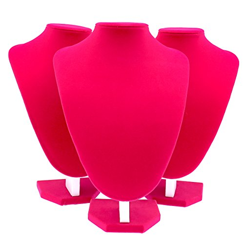 Velvet Pink Necklace Stand Display Holder Jewelry Organiser (29cm X 3 PCS) by COMELYJEWEL