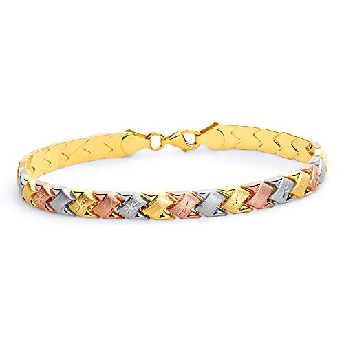 14k Tri Color Gold Diamond Cut Stampato Bracelet with Lobster Claw Clasp - 7.25