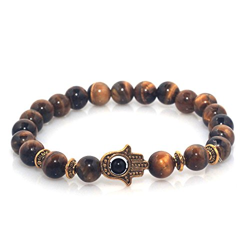 f Hamsa Charm Natural Marble Stone Bracelet (Tiger Eye Gold) (Gold Plated Tiger Charms)