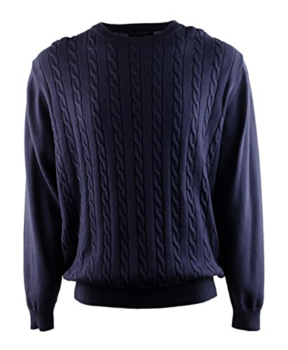 (Roundtree & Yorke Men's Crewneck Knit Sweater-RB-L)
