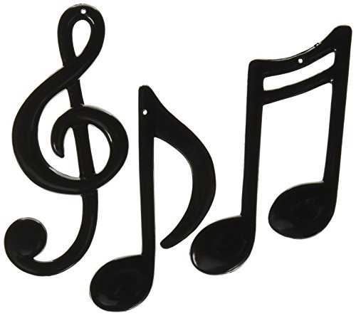[Molded Plastic Musical Notes (black)    (3/Pkg)] (Music Party Decorations)
