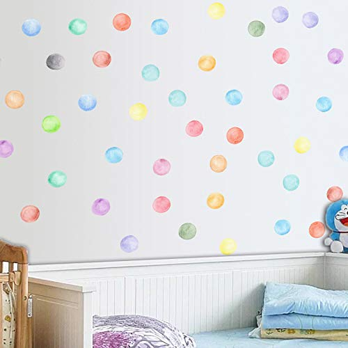 EZSpace Colorful Dots Wall Stickers Removable Vinyl Wall Decal Sticks for Kids Baby Room Decorative Nursery Wall Art Decor