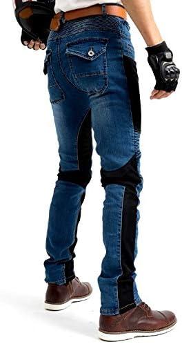 S- Sportliche Motorrad Hose Mit Protektoren Motorradhose mit Oberschenkeltaschen Blau Waist 31.5