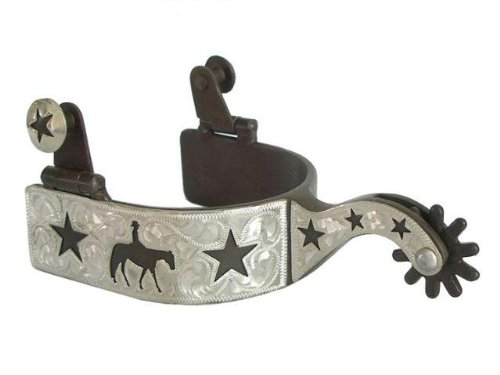 AJ Tack Wholesale Silver Engraving Pleasure Riding Star Show Spurs Ladies (Show Spurs Ladies)