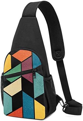 ボディ肩掛け 斜め掛け 幾何学 多彩 ショルダーバッグ ワンショルダーバッグ メンズ 軽量 大容量 多機能レジャーバックパック