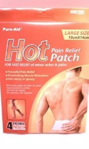 Hot Pain Relief Patch for Fast Relief of Minor Aches and Pains 4 Patches for Muscle Relaxation By Pure-aid
