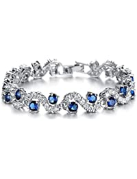 Blue Tennis Bracelet Women Cubic Zirconia Sapphire Jewelry Bridal Crystal Bangle Mom Daughter