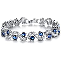 Feraco Blue Tennis Bracelet Women Cubic Zirconia Sapphire Jewelry Bridal Crystal Bangle Mom Daughter
