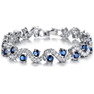 Feraco Blue Tennis Bracelet Women Cubic Zirconia Sapphire Jewelry Bridal Crystal Bangle for...