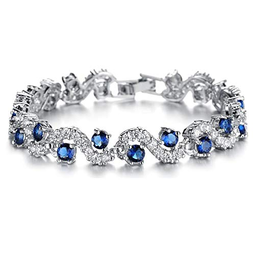 Platinum Plated Cubic Zirconia Bracelet For Women Sparkle Crystal Wrist Band Bangle Wedding Jewelry,Blue Silver 17cm