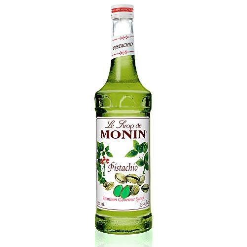 Monin - Pistachio Syrup, Rich and Roasted Pistachio Flavor, Great for Lattes, Mochas, and Dessert Cocktails, Vegan, Non-GMO, Gluten-Free (750 ml) ()