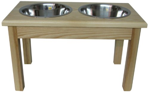 Classic Pet Beds 2-Bowl Traditional Style Ash Pet Diner, Large, Natural For Sale