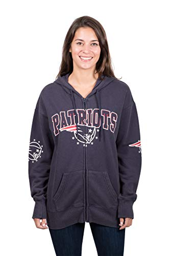 (NFL New England Patriots Women's Full Zip Fleece Hoodie Sweatshirt Banner Jacket, Medium, Navy)
