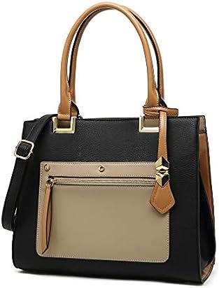 Womens Top Handle Satchel Handbags Ladies Designer Purses Shoulder Bags Pu Leather Tote Bags for Women(Black)