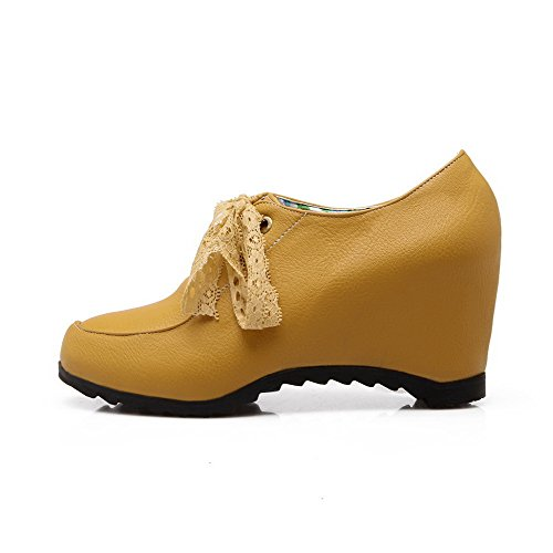 PU Closed Pumps Solid Toe WeenFashion Yellow High Lace Women's Round up Shoes Heels YUEw5vq